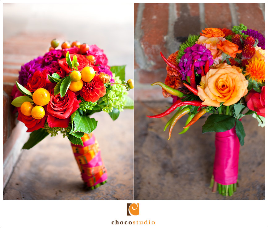 Fall themed brides bouquet with red peppers and tangerines