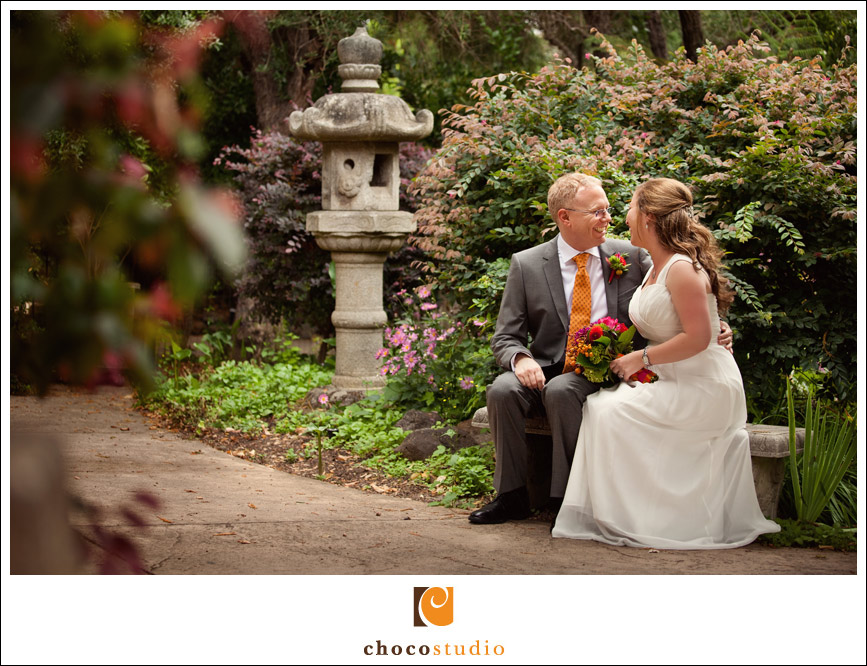 Bride and groom at Marin Art and Garden Center wedding