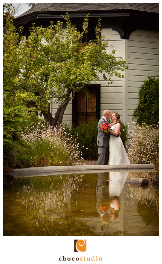Marin Art and Garden Center wedding portrait with the fountain reflection