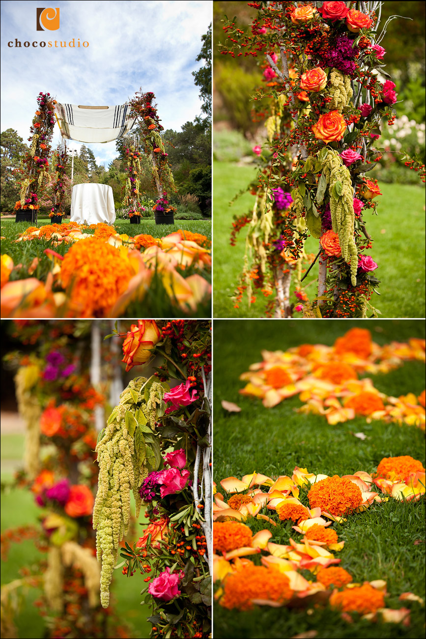 Fall themed ceremony details at Marin Art and Garden Center wedding