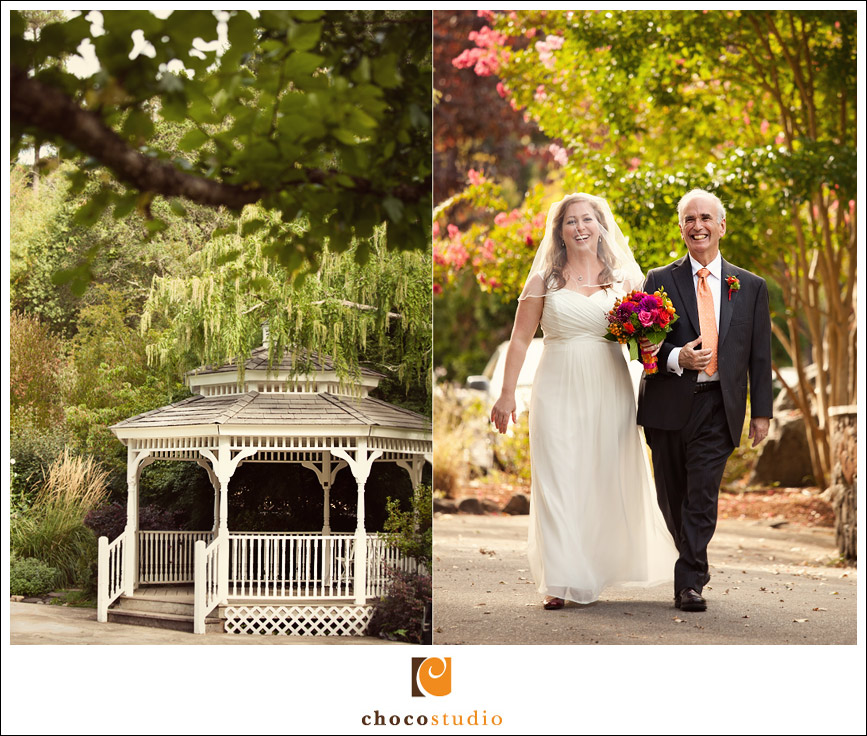 Bride walking down the aisle with her dad at Marin Art and Garden Center fall wedding