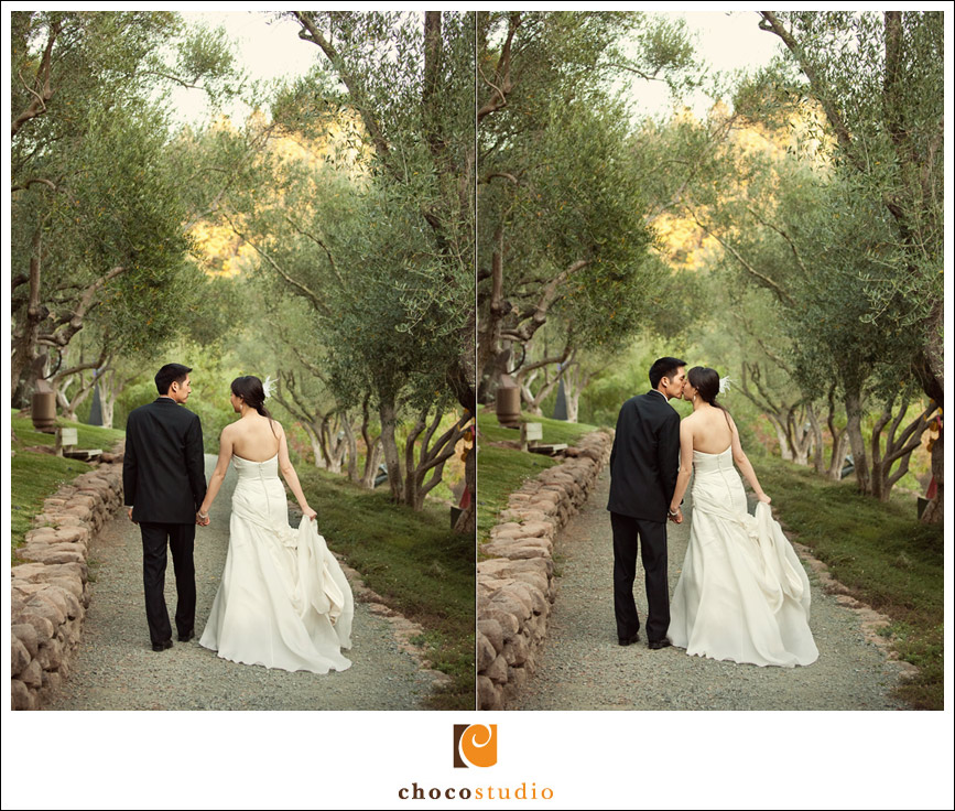 Bride and groom walking at Auberge Du Soleil garden