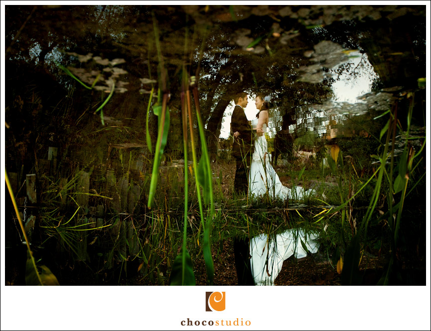 Bride and groom reflection in water
