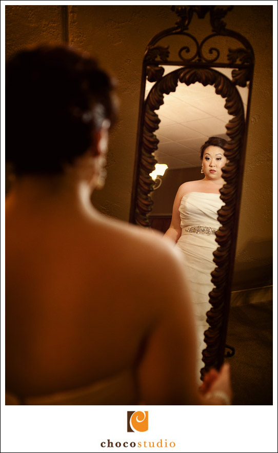 Bride getting ready at Casa Real bridal suite