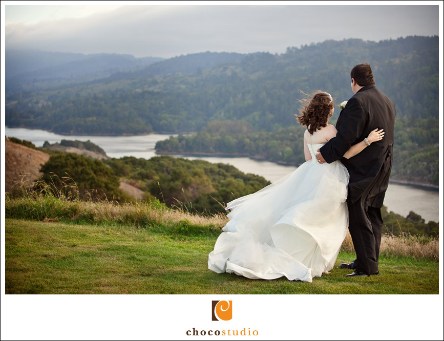 Bride and groom overlooking Crystal Springs Reservoir
