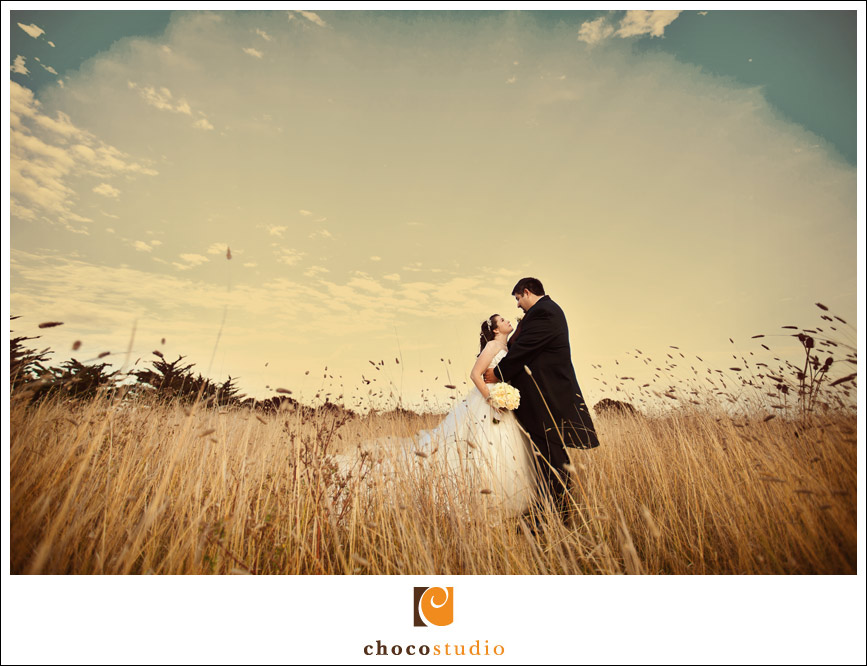 Bride and groom portrait at Crystal Springs Golf Course