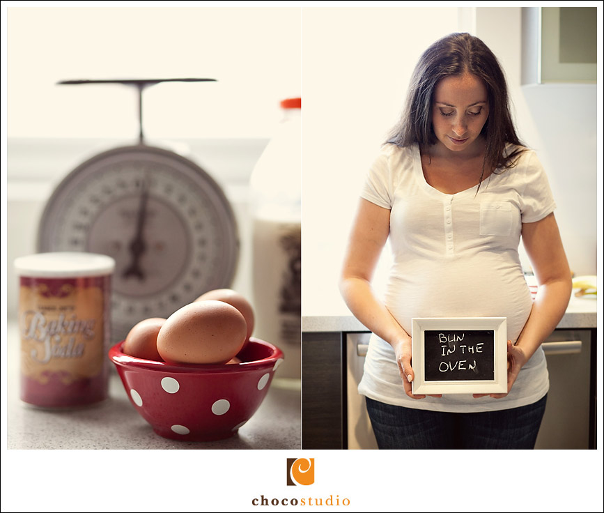 Kitchen themed San Francisco Maternity Shoot