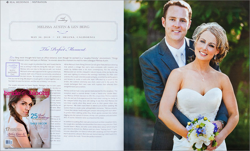 San Francisco wedding photographer featured in bridal magazine