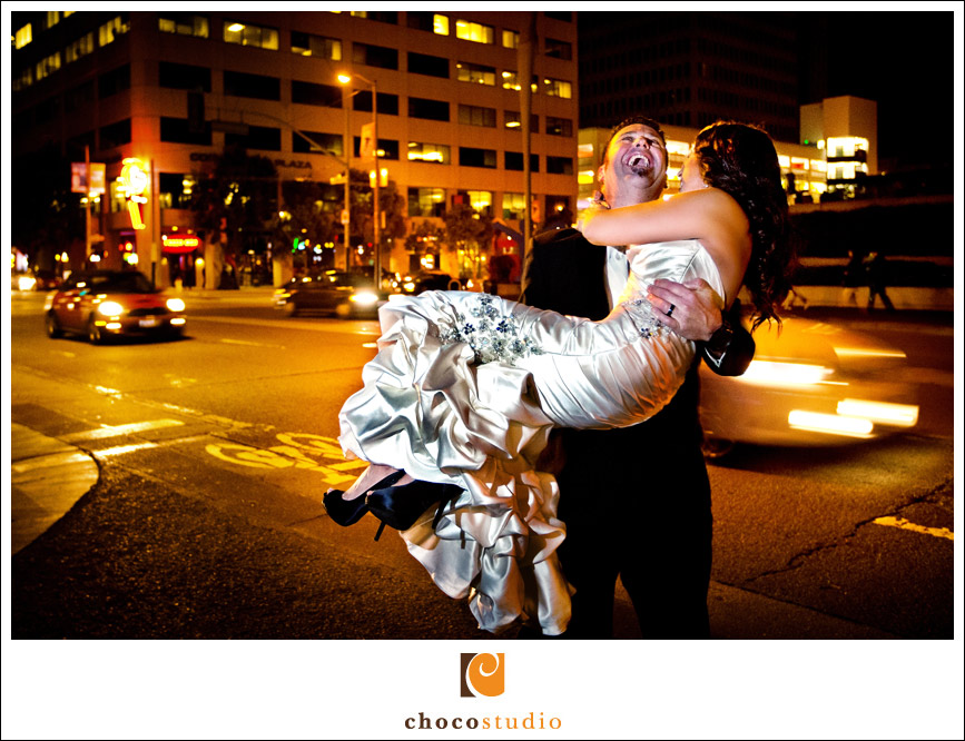 Fun bride and groom portrait in W Hotel San Francisco