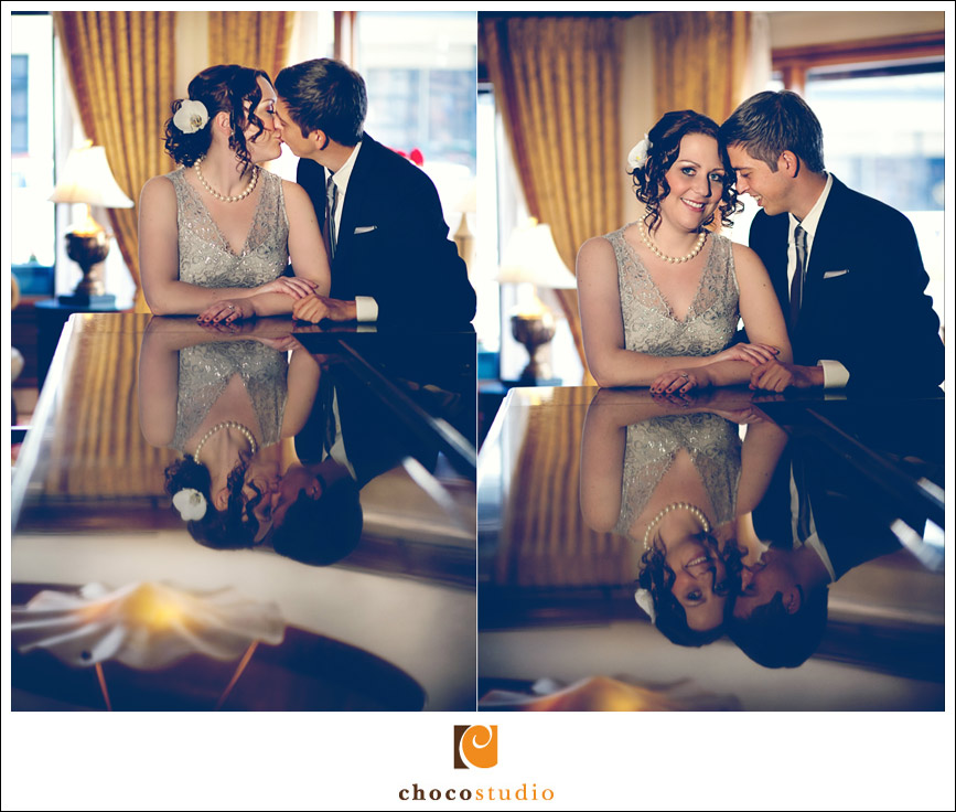 Romantic Portraits of Bride and Groom at The Rose Hotel