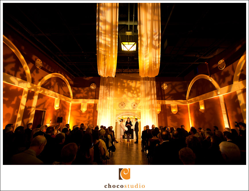 Wedding Ceremony with Amber Lights at Casa Real