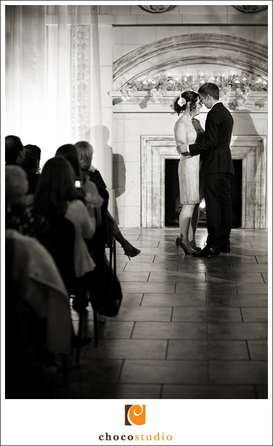 Black and White Ceremony Photo at Casa Real