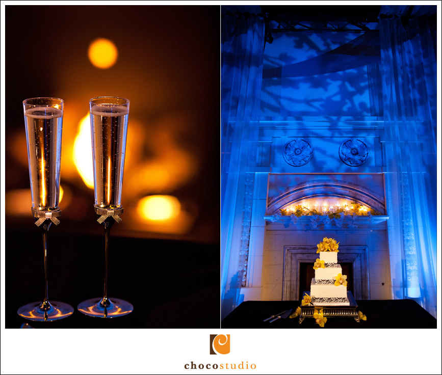 Wedding Cake and Champagne Glasses at Casa Real Reception