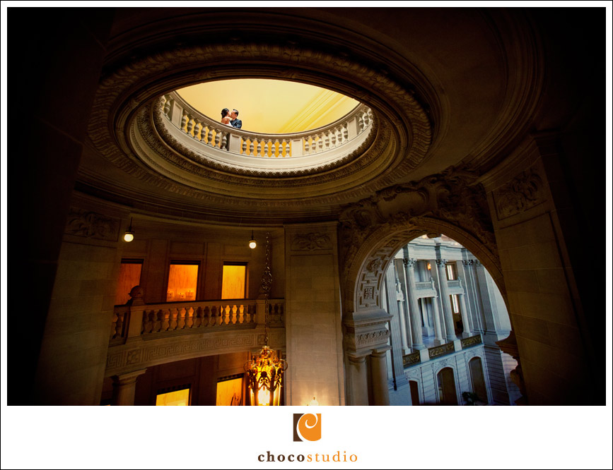 San Francisco City Hall elopement bride and groom