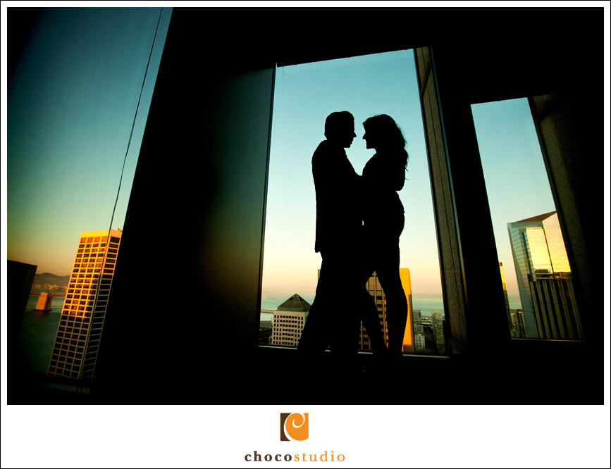 San Francisco sexy engagement silhouette