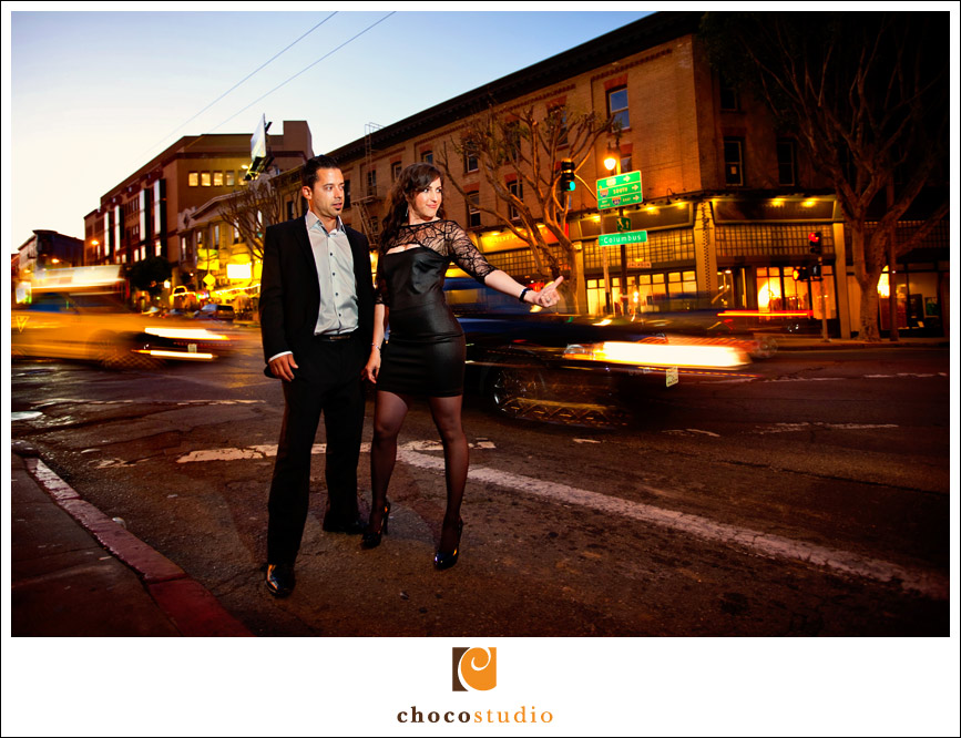 North Beach night engagement session