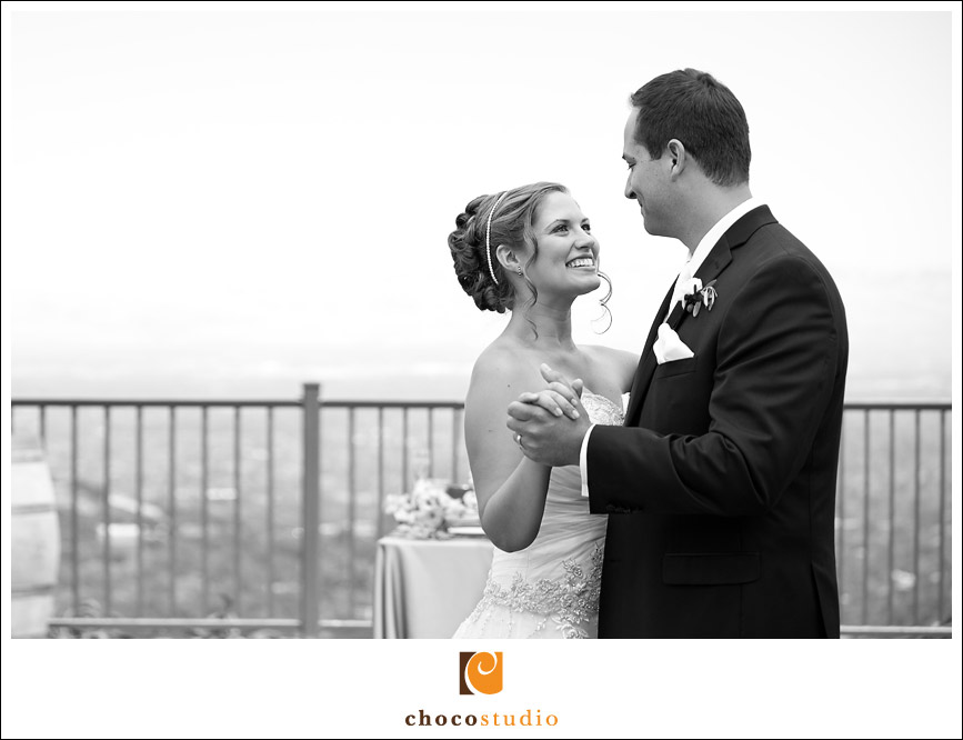 Bride and groom on the Chateau Deck