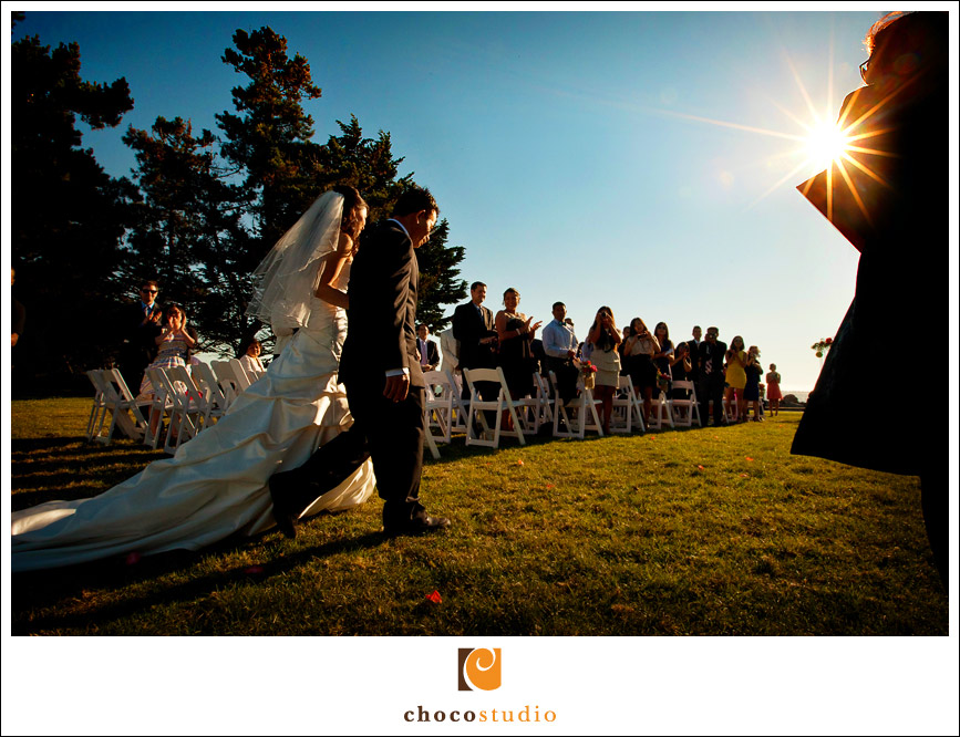 Outdoor wedding ceremony at East Ocean Restaurant Emerville