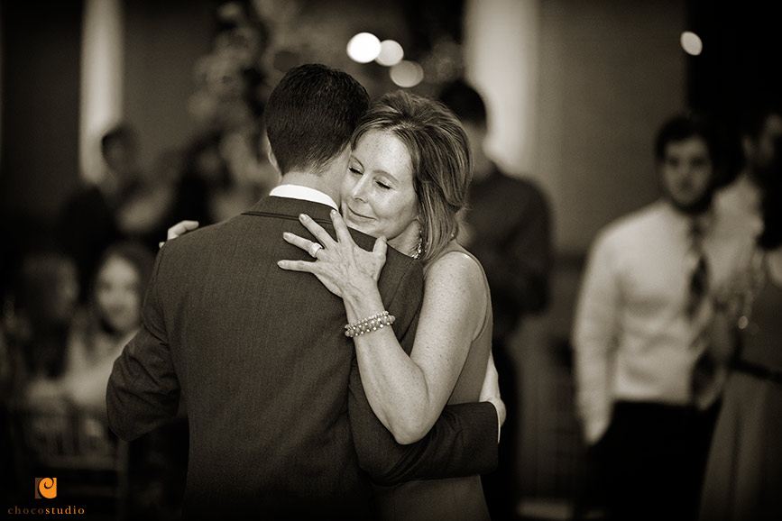 Emotional mother son dance at wedding in Bently Reserve