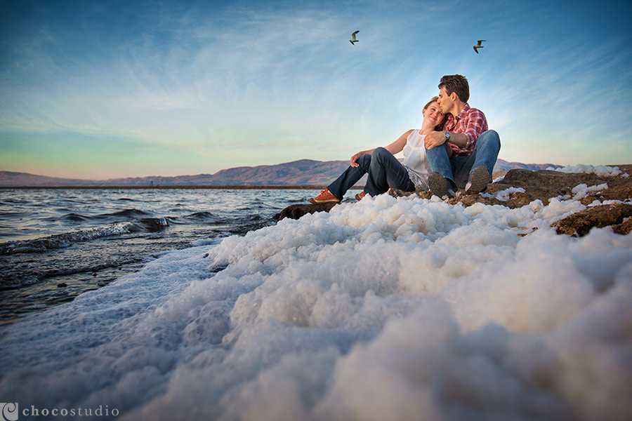 Intimate engagement portrait by the bay