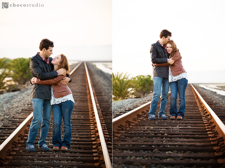 Engagement on the old railroad tracks