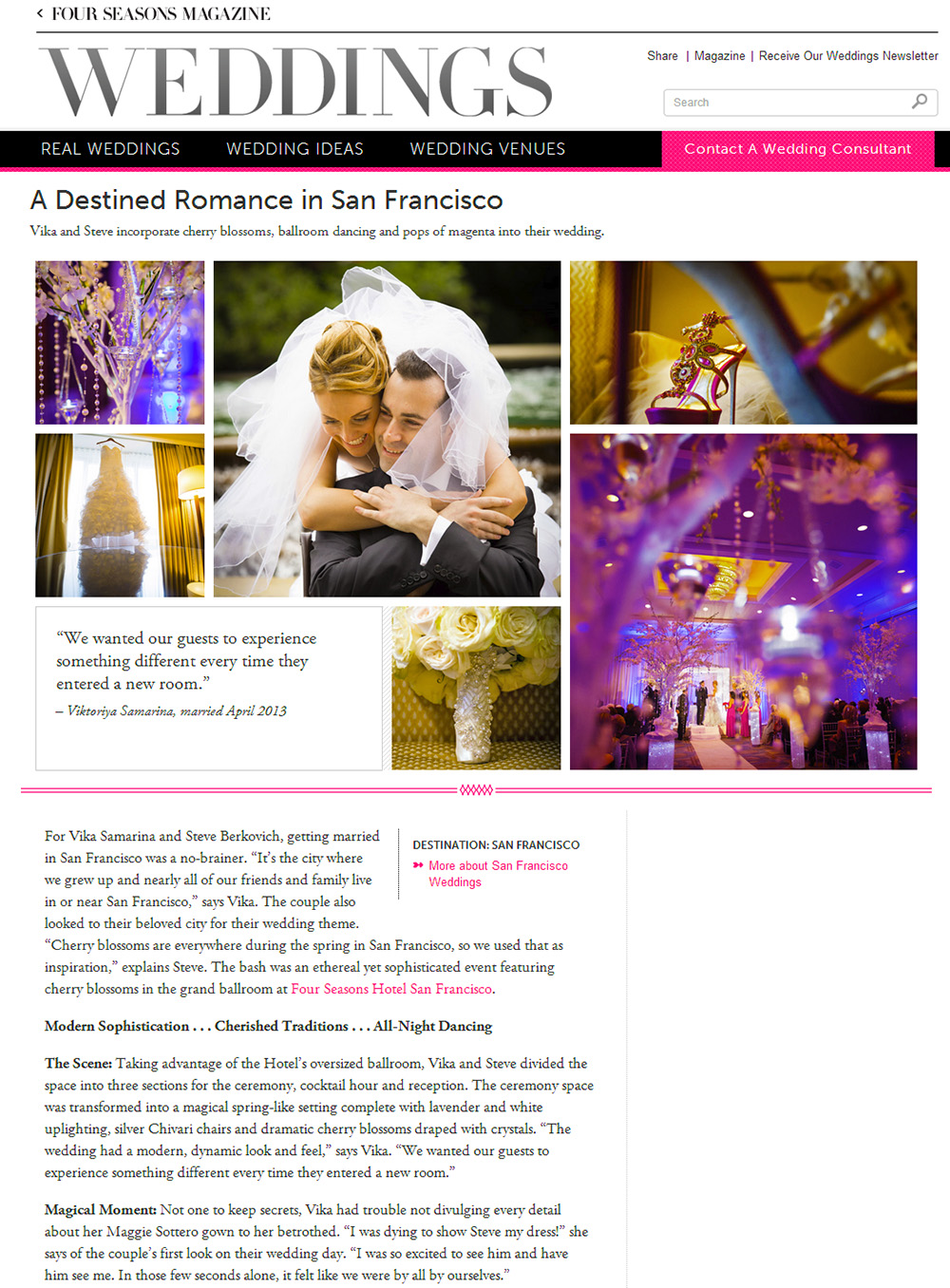 Four Seasons Hotel San Francisco wedding feature