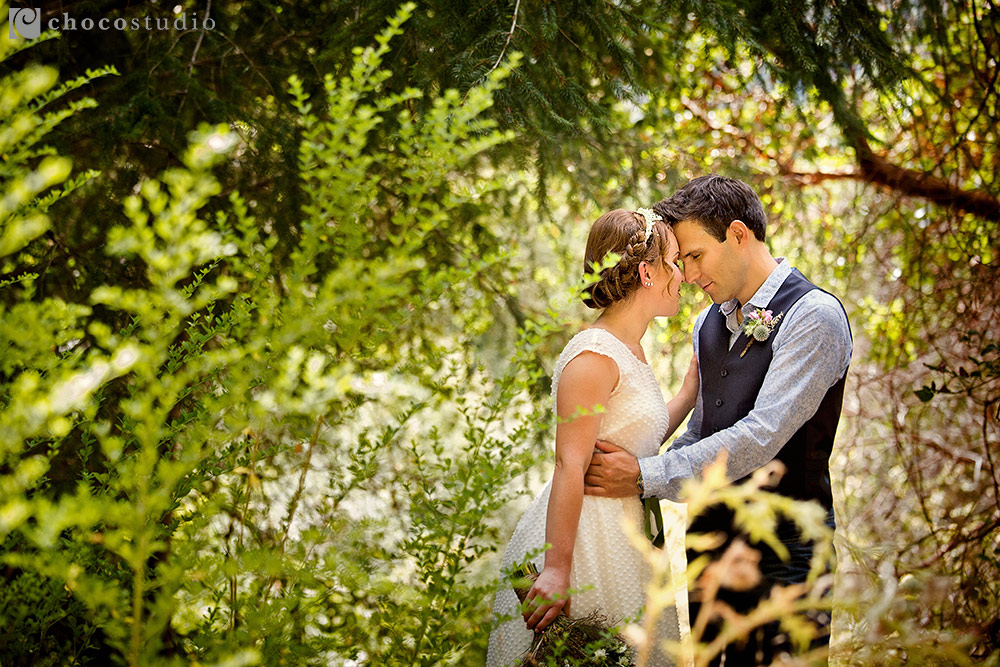Natural bride and groom portrait at Pema Osel Ling Retreat