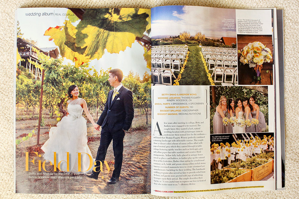 Thomas Fogarty Winery Wedding Photographer Featured Bridal Guide Magazine