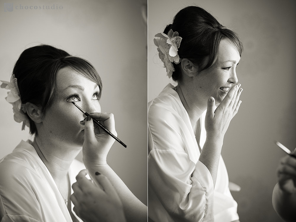 Bride getting ready at Villa Ragusa