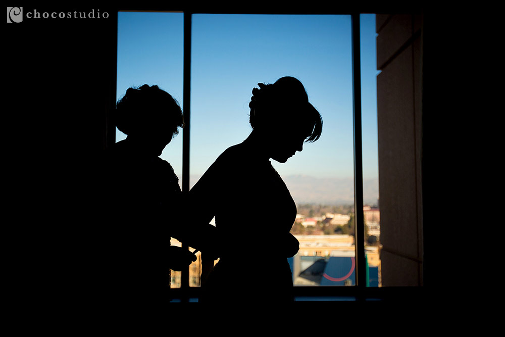 Bridal silhouette at Villa Ragusa Campbell Wedding