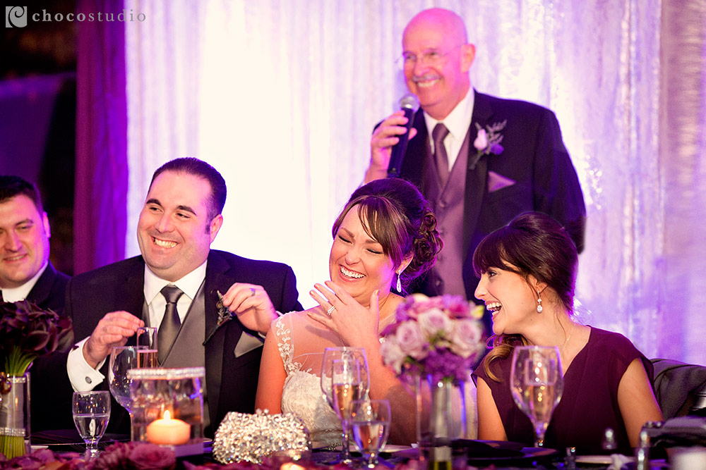 Emotional toasts at Villa Ragusa wedding reception in Campbell