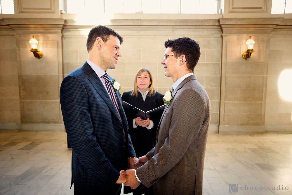 Same sex wedding ceremony San Francisco City Hall