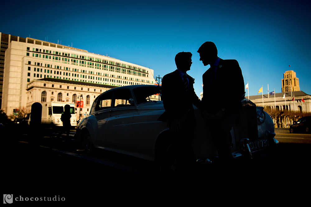 White Rolls Royce at San Francisco City Hall wedding