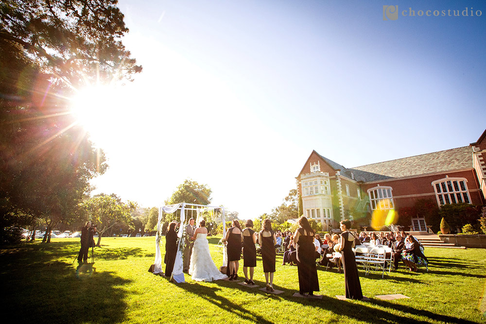 Lawn wedding ceremony at Kohl Mansion