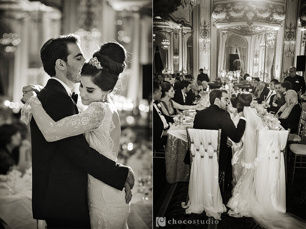 SF Fairmont Hotel Wedding Reception Black and White