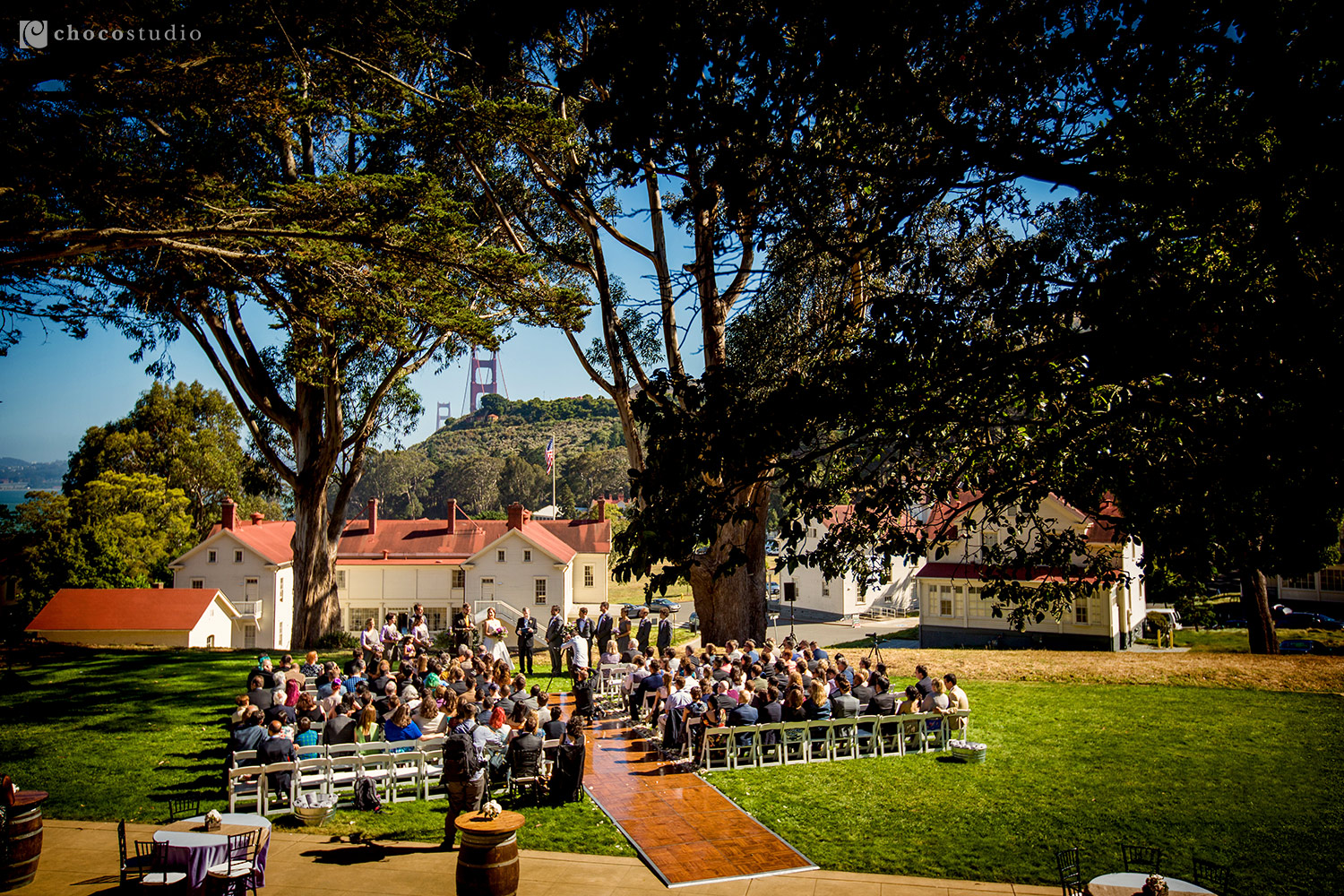 Outdoor Wedding Ceremony at Cavallo Point Wedding Mission Blue Lawn