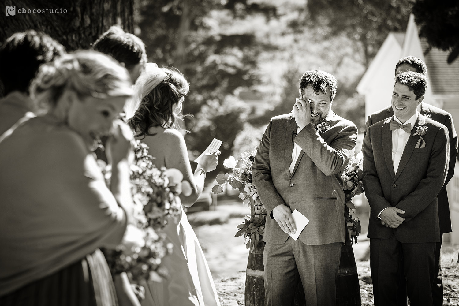 Emotional Groom at Ceremony at Cavallo Point Lodge Wedding