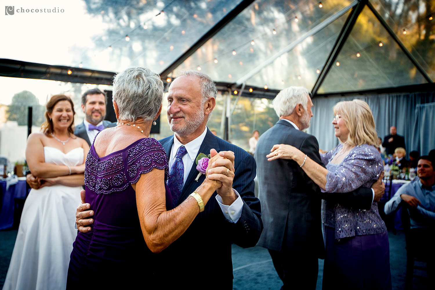 Father and Mother Dancing at Cavallo Point Lodge Wedding