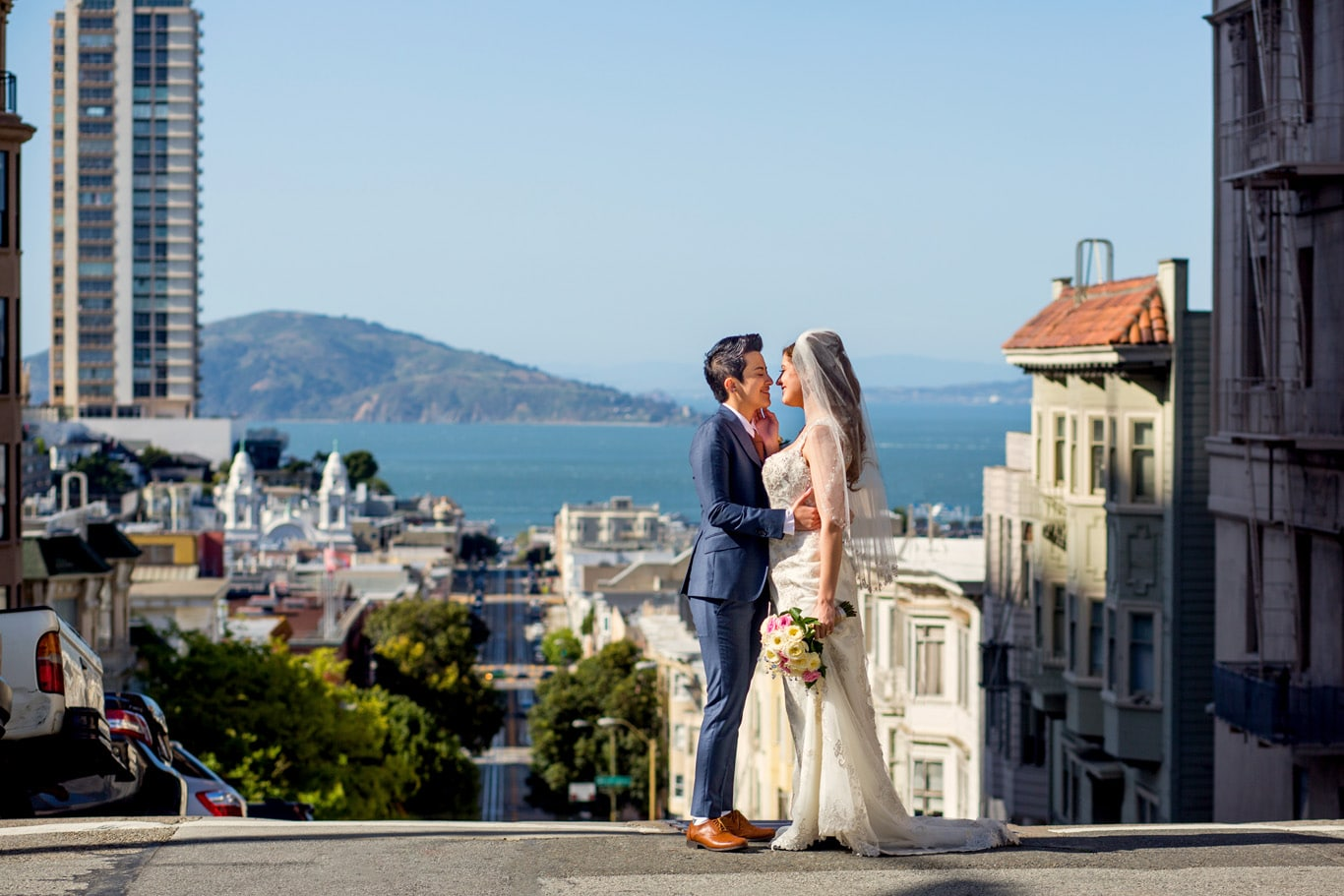 Nob Hill Wedding Portrait for SF City Hall Wedding