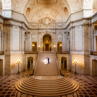 Grand Stairway Wedding Photo at San Francisco City Hall