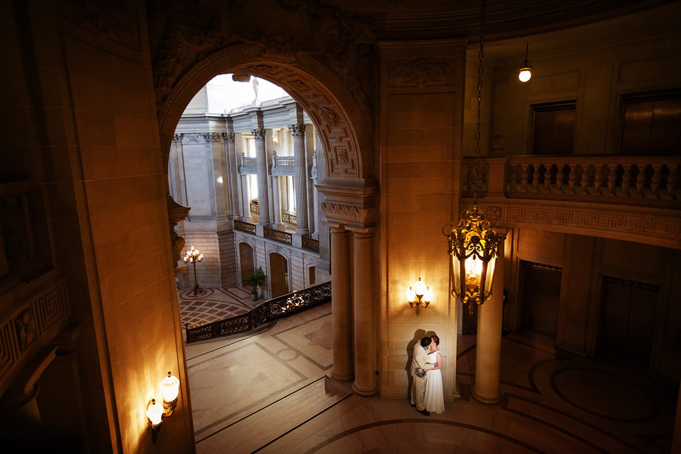 City Hall Rotunda Wedding Portrait