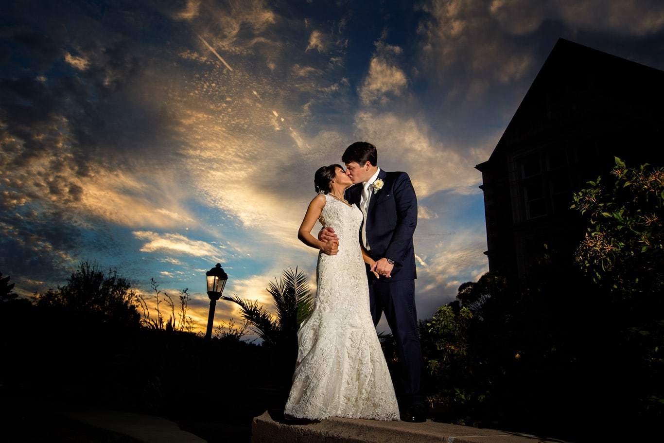 Wedding Portrait at Dusk at Kohl Mansion Wedding