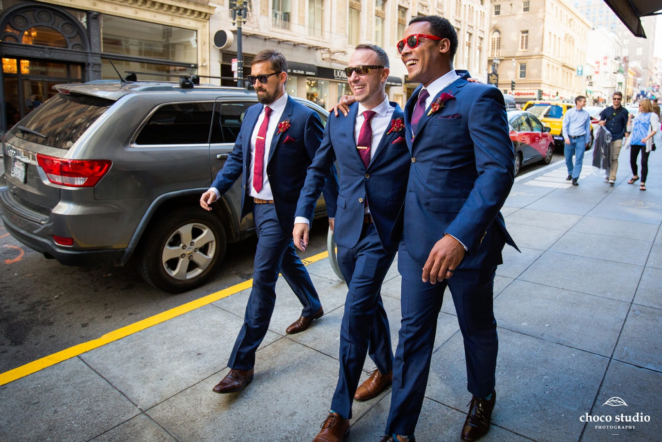 Groomsmen Walking at SF Union Square Marriott Wedding