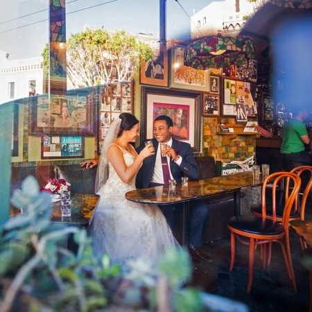 Wedding Portrait at Vesuvio in San Francisco