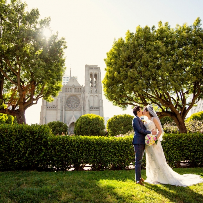 Grace Cathedral Wedding Portrait