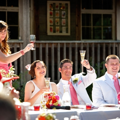 Radonich Ranch Wedding Outdoor Reception Toast