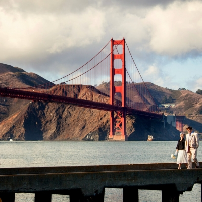 Golden Gate Bridge Wedding Bride Groom