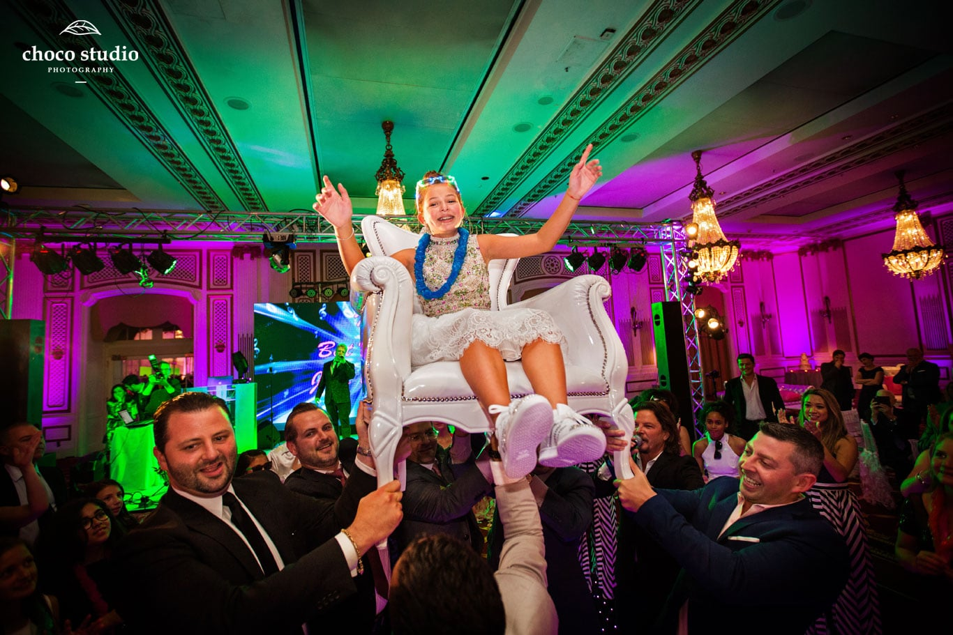 Palace Hotel Bat Mitzvah Horah Dancing with Chair