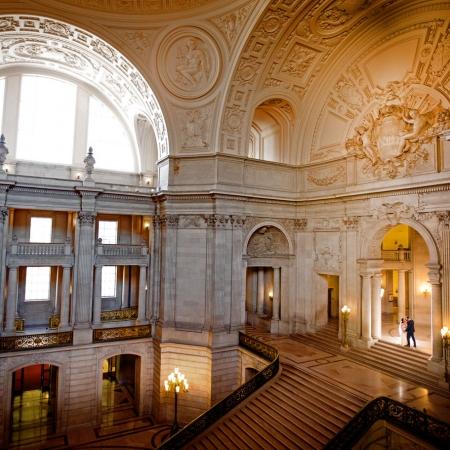San Francisco City Hall Grand Staircase wedding portrait