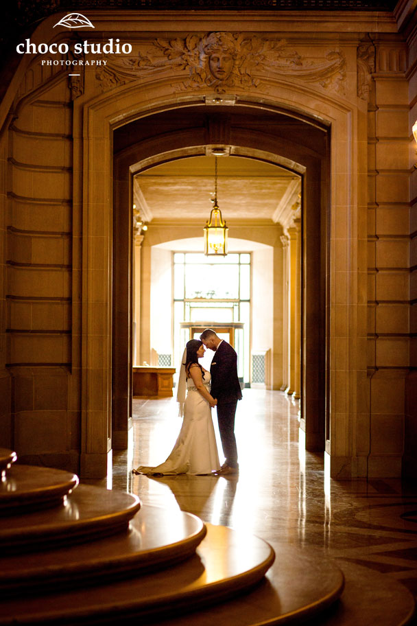 Bride and Groom wedding portraits in SF City Hall